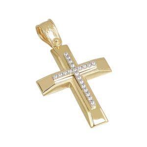 Χρυσός σταυρός με πέτρες κ14  Τ197
