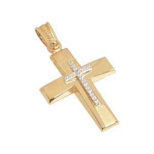 Χρυσός σταυρός με πέτρες Κ14 Τ53