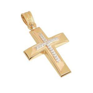 Χρυσός σταυρός με πέτρες Κ14 Τ56