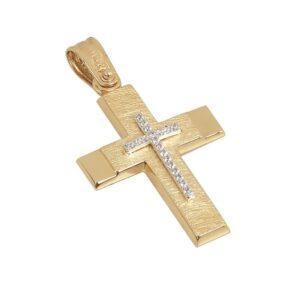 Χρυσός σταυρός με πέτρες Κ14 Τ58