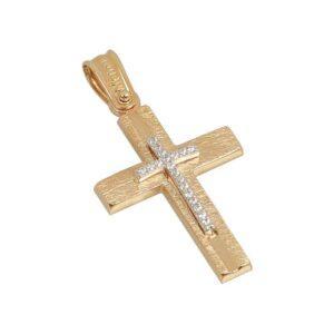 Χρυσός σταυρός με πέτρες Κ14 Τ64