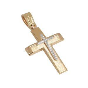Χρυσός σταυρός με πέτρες Κ14 Τ65