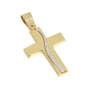 Χρυσός σταυρός με πέτρες Κ14-Κ9 Τ196