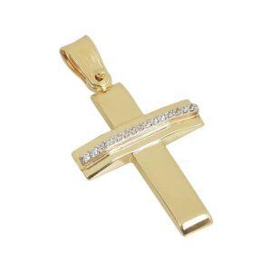 Χρυσός σταυρός με πέτρες Κ14-Κ9 Τ195
