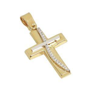 Χρυσός σταυρός με πέτρες Κ14-Κ9 Τ194