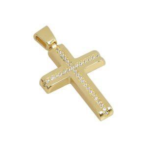Χρυσός σταυρός με πέτρες Κ14 Τ181