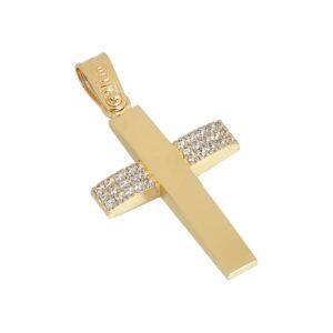 Χρυσός σταυρός με πέτρες Κ14 Τ77