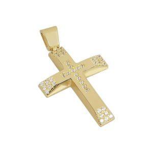 Χρυσός σταυρός με πέτρες Κ14 Τ175
