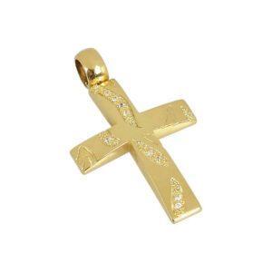 Χρυσός σταυρός με πέτρες Κ14 Τ160