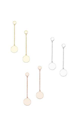 Ασημένια σκουλαρίκια αλυσίδα με στρογγυλό δίσκο 12-05-2603
