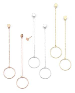 Ασημένια σκουλαρίκια αλυσίδα με κύκλο 12-05-2604