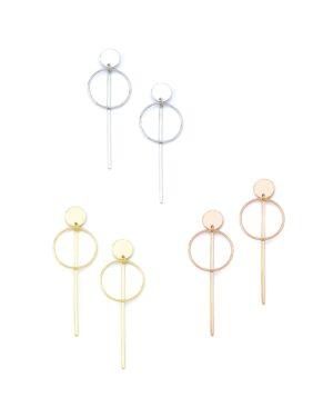 Ασημένια σκουλαρίκια κύκλος με στρογγυλό δίσκο 12-05-2606